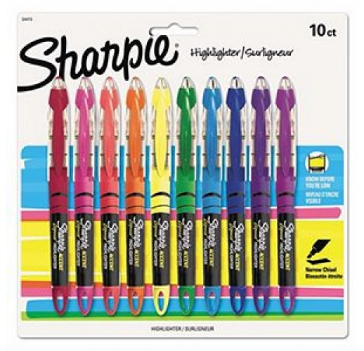 Sharpie - Accent Liquid Pen Style Highlighter, Chisel Tip, Assorted - 10/Set